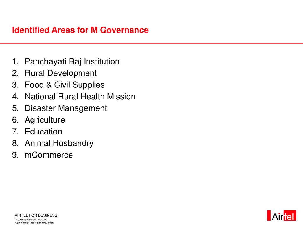 Identified Areas for M Governance