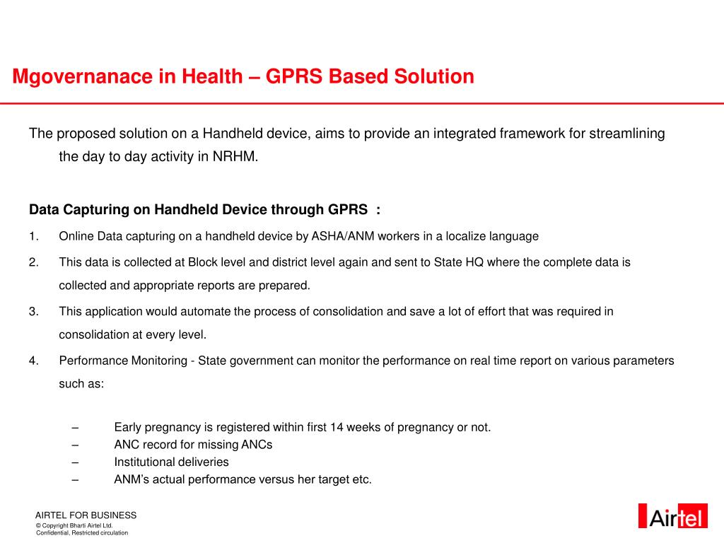 Mgovernanace in Health – GPRS Based Solution