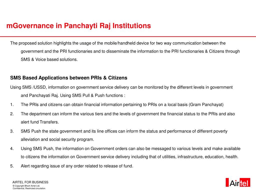 mGovernance in Panchayti Raj Institutions