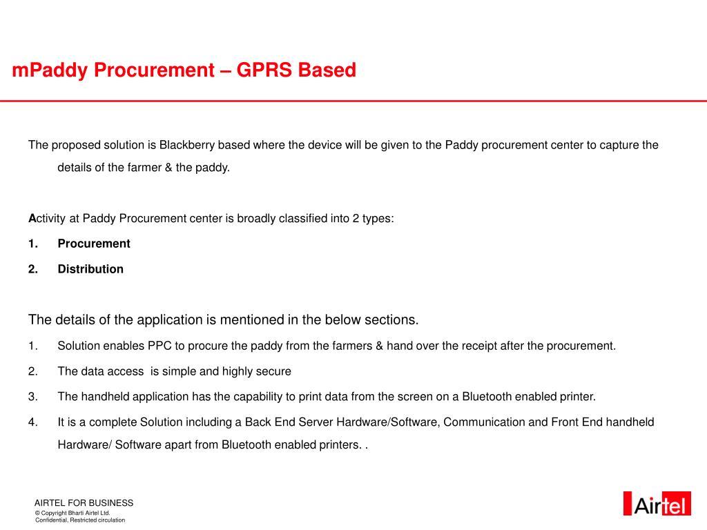 mPaddy Procurement – GPRS Based