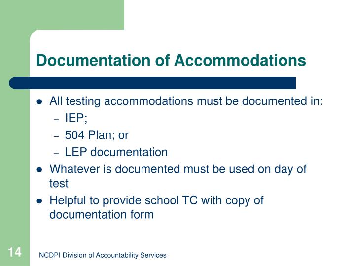 Documentation of Accommodations