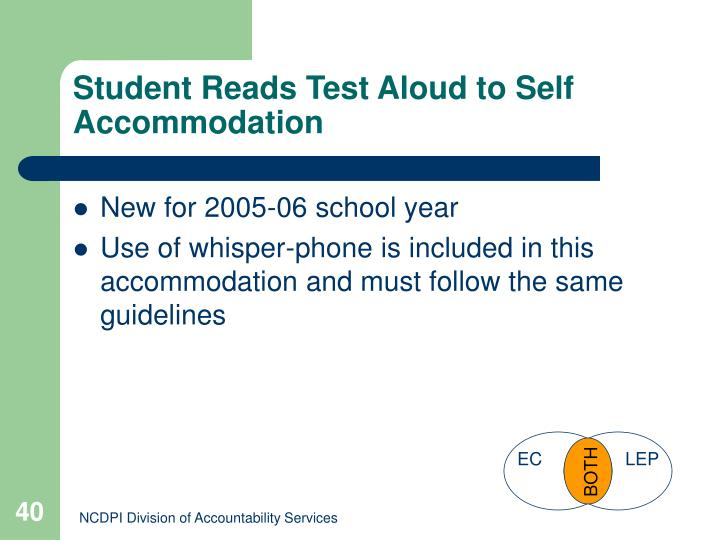 Student Reads Test Aloud to Self Accommodation