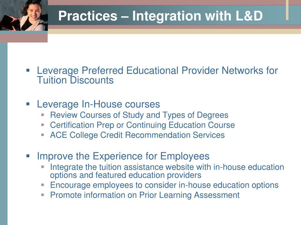 Practices – Integration with L&D
