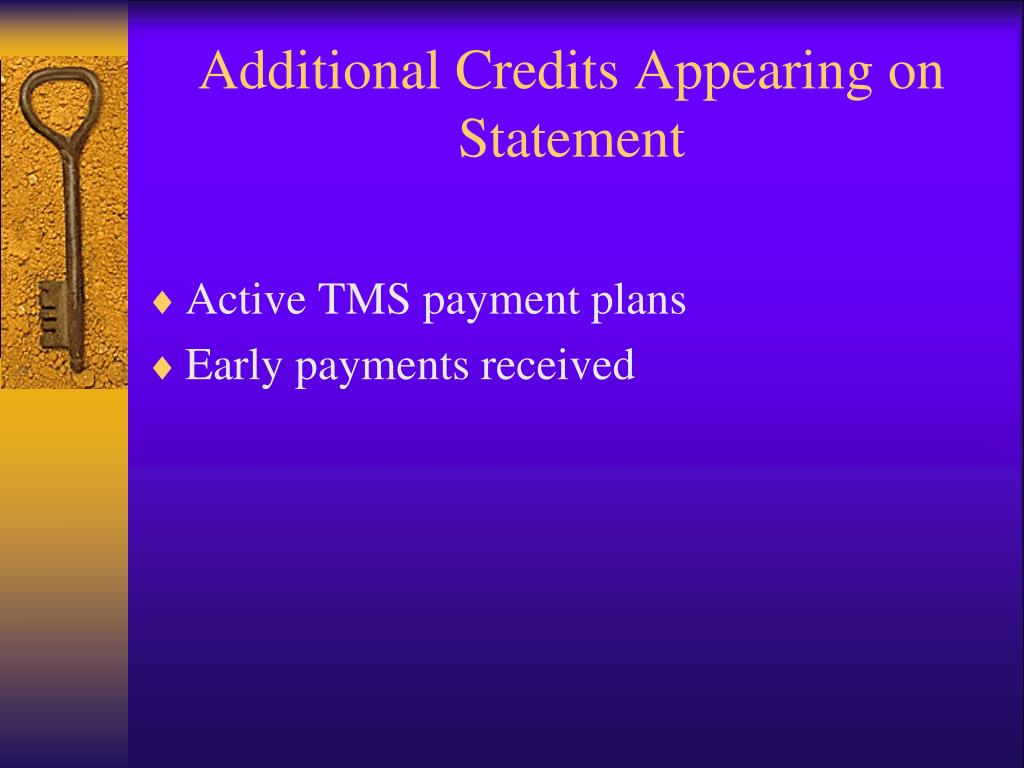 Additional Credits Appearing on Statement