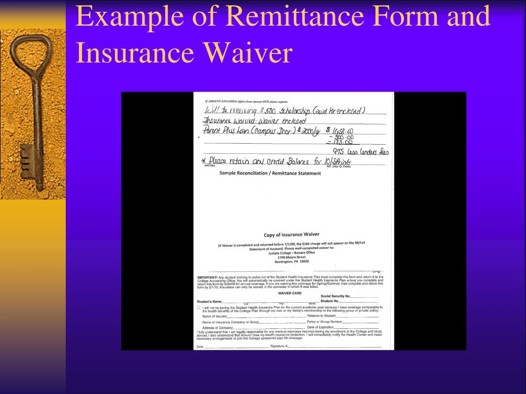 Example of Remittance Form and