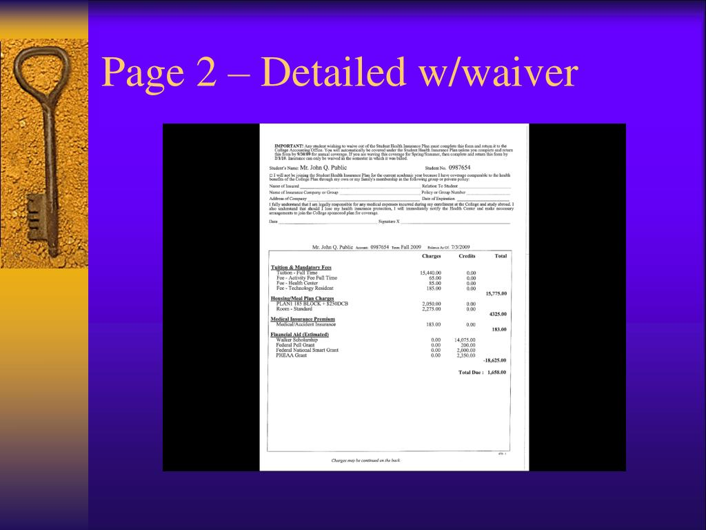 Page 2 – Detailed w/waiver