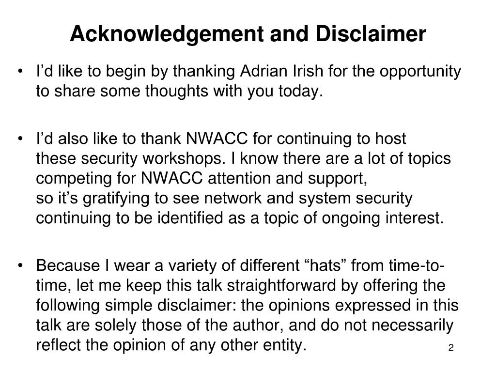 Acknowledgement and Disclaimer
