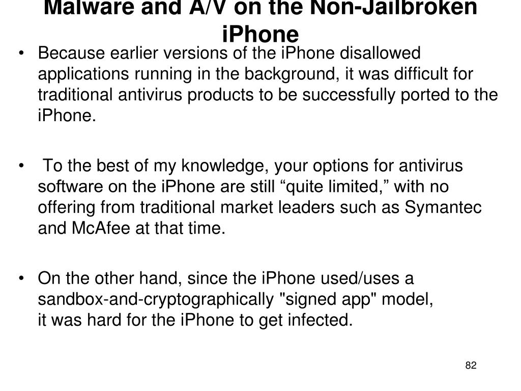 Malware and A/V on the Non-Jailbroken iPhone