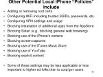 other potential local iphone policies include