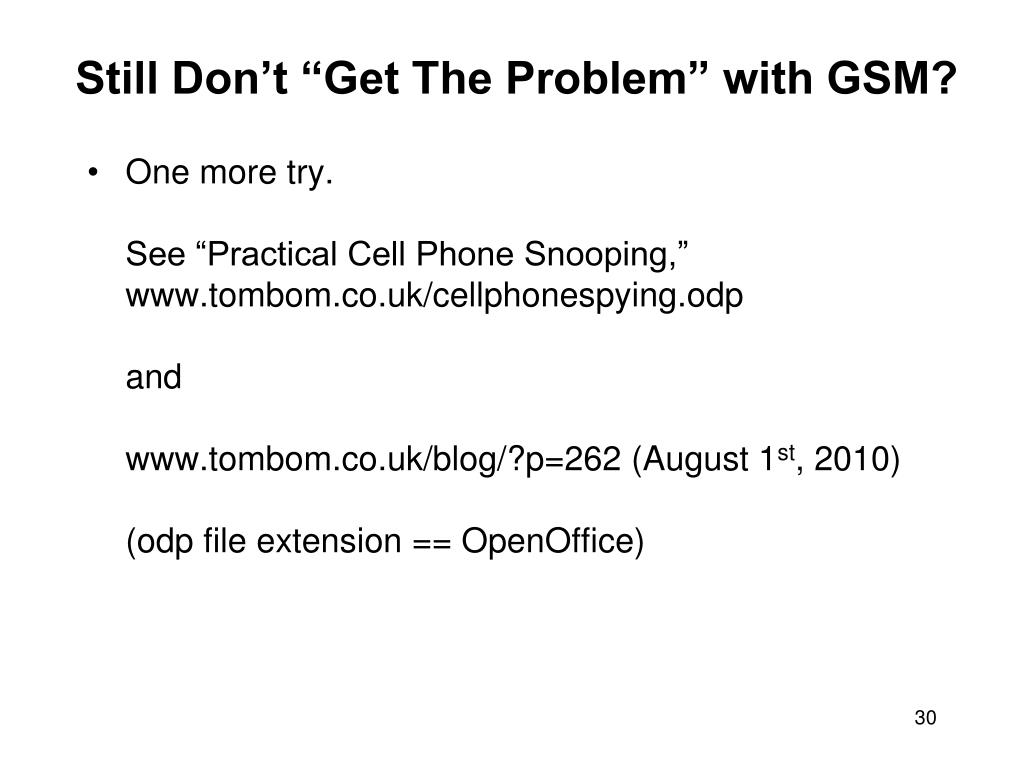"Still Don't ""Get The Problem"" with GSM?"