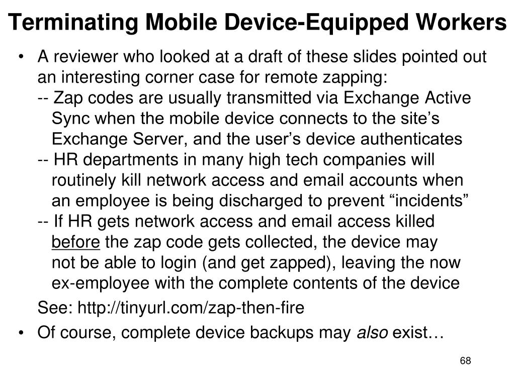 Terminating Mobile Device-Equipped Workers