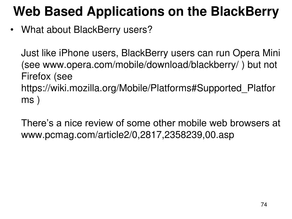 Web Based Applications on the BlackBerry