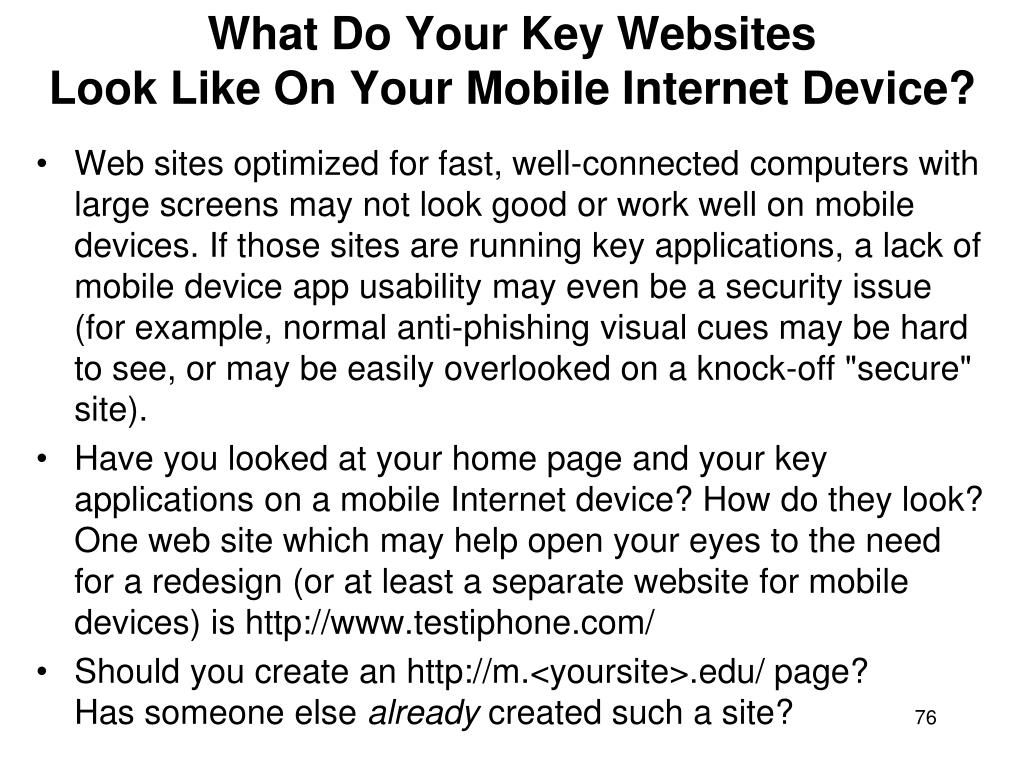 What Do Your Key Websites