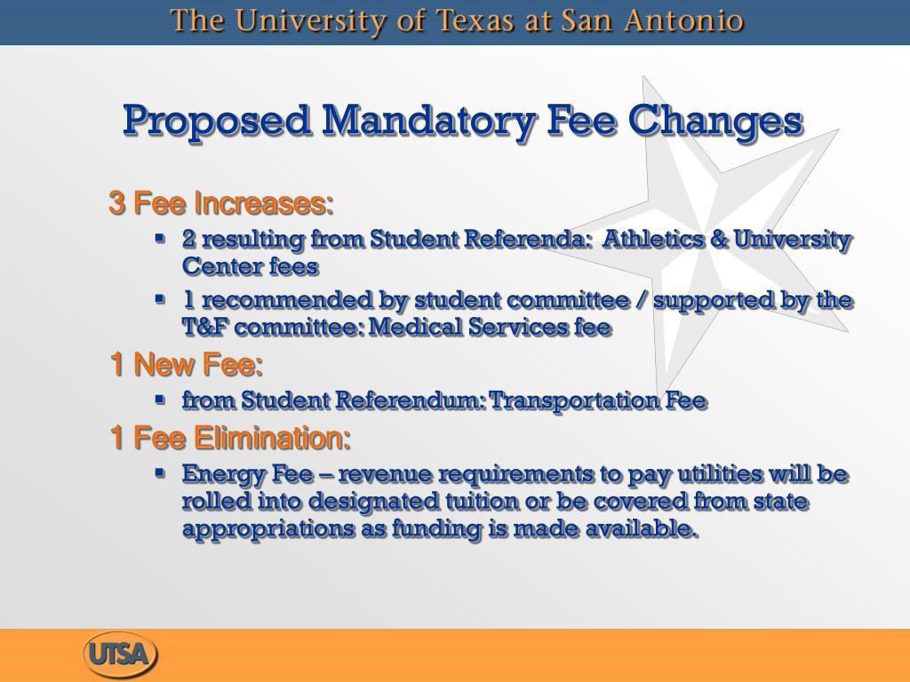 Proposed Mandatory Fee Changes
