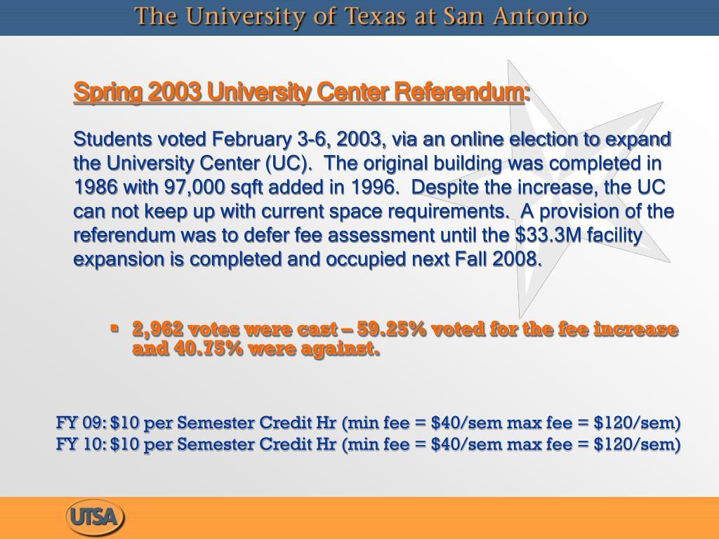 Spring 2003 University Center Referendum