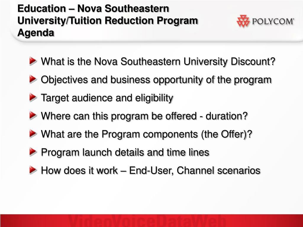 Education – Nova Southeastern University/Tuition Reduction Program Agenda