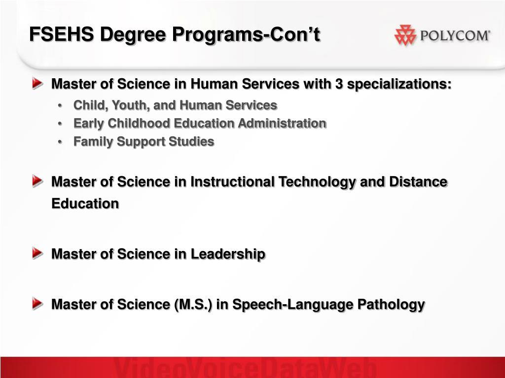 FSEHS Degree Programs-Con't