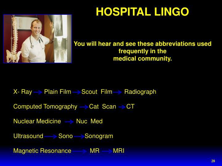 HOSPITAL LINGO