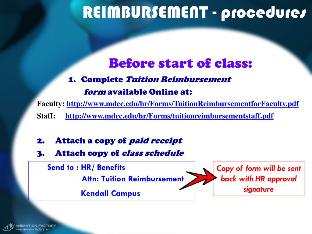 REIMBURSEMENT - procedures