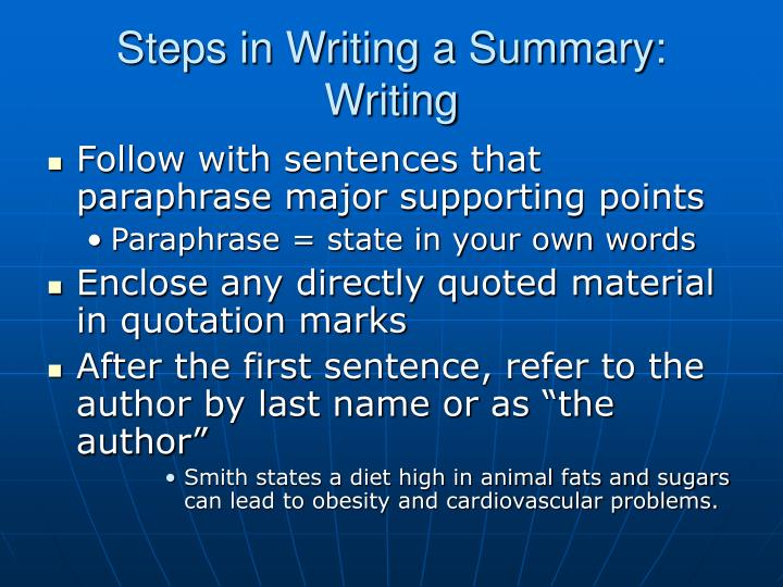 writing a summary ppt
