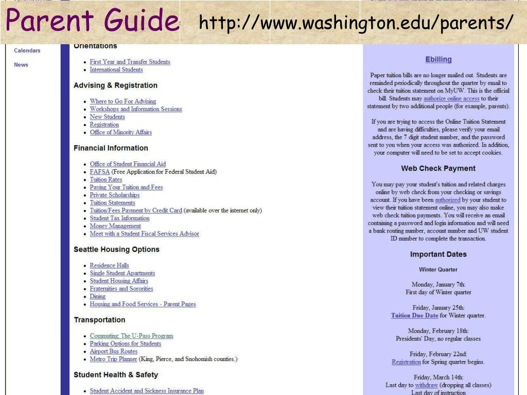 http://www.washington.edu/parents/