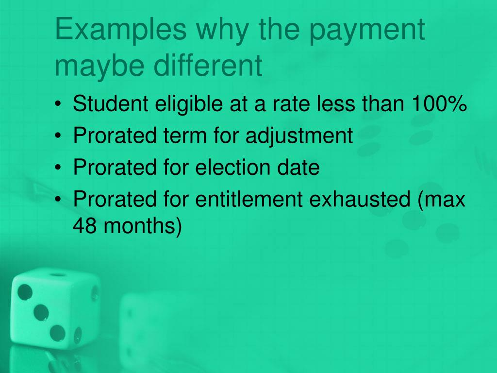 Examples why the payment maybe different