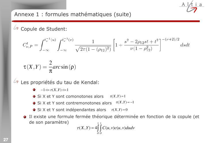 Annexe 1 : formules mathématiques (suite)