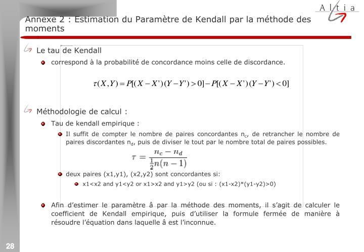 Annexe 2 : Estimation du Paramètre de Kendall par la méthode des moments