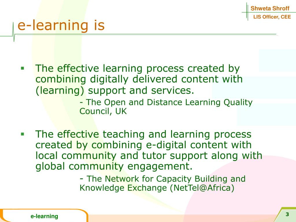 e-learning is
