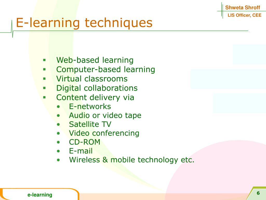 E-learning techniques