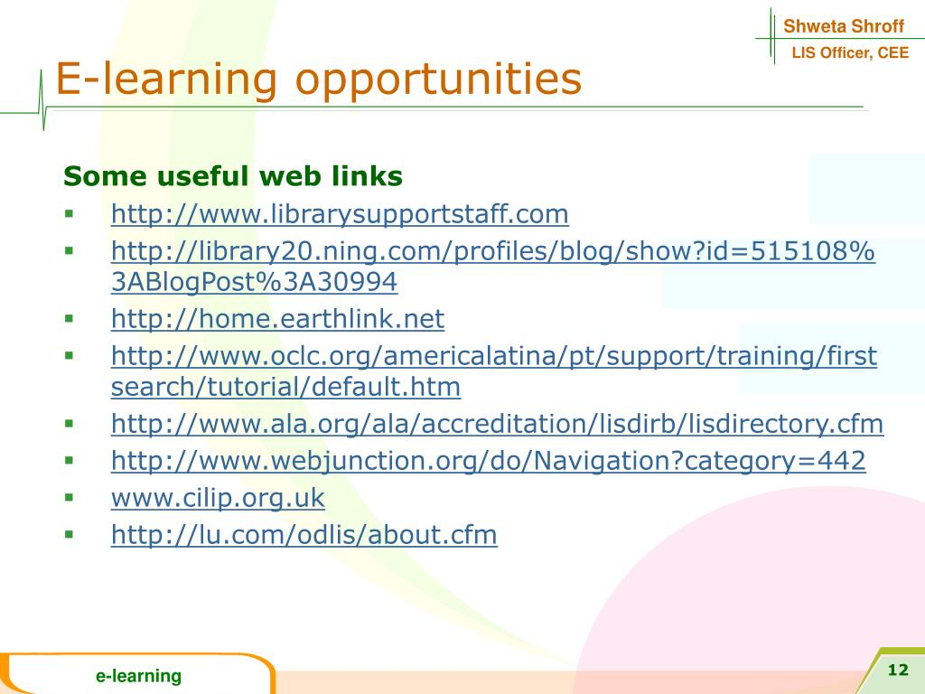 E-learning opportunities