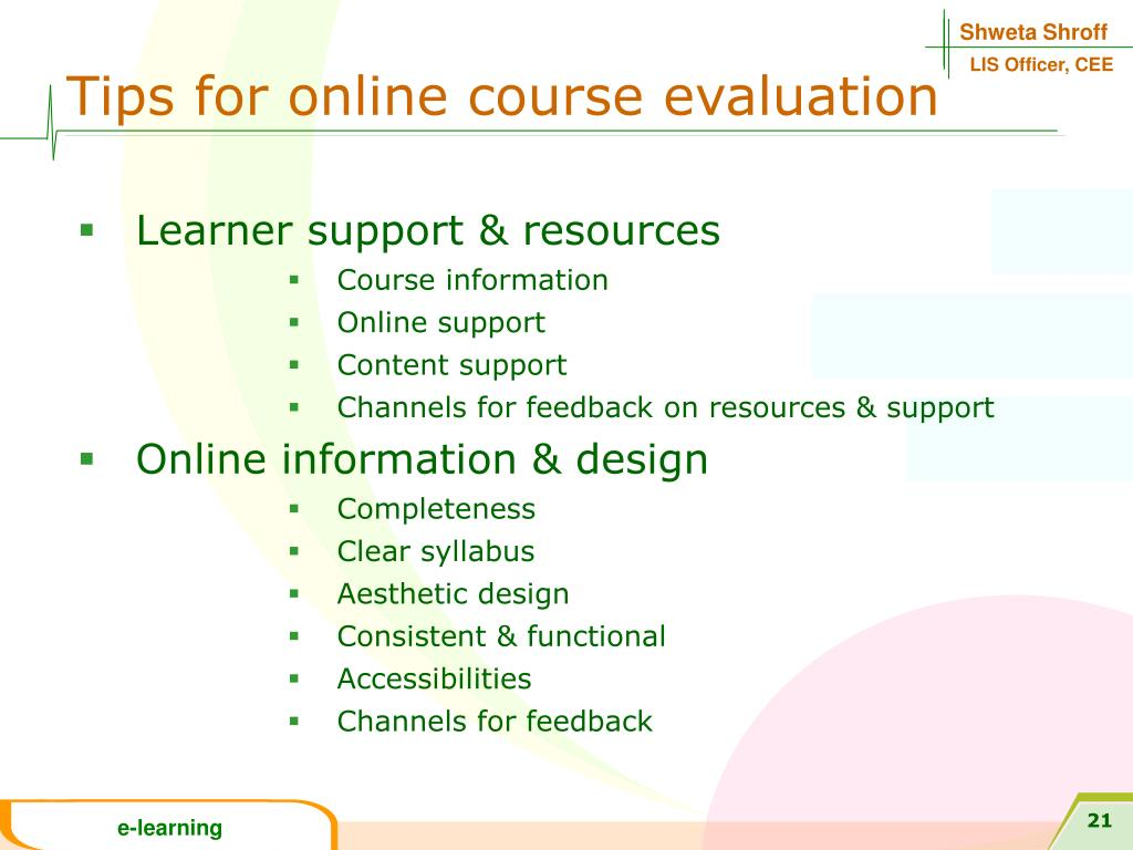 Tips for online course evaluation