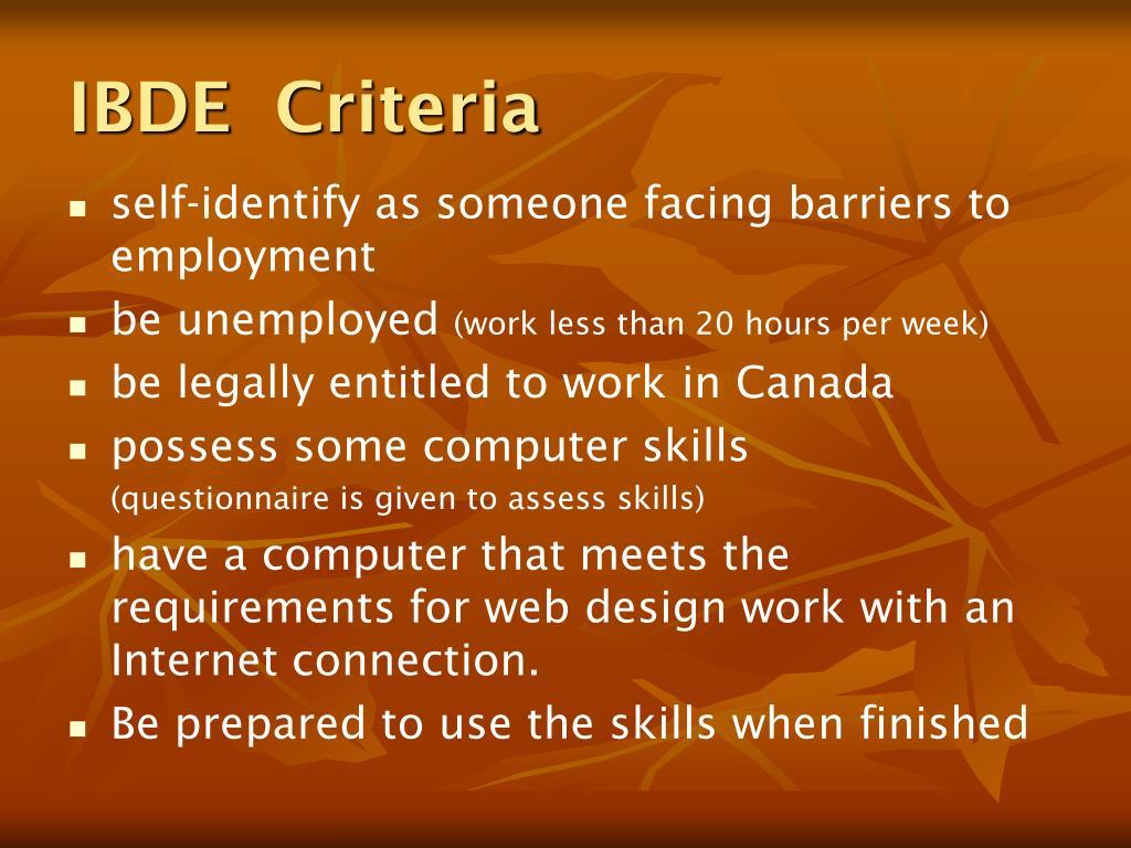 IBDE  Criteria