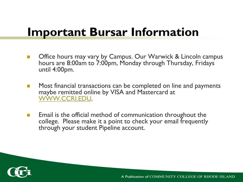 Important Bursar Information