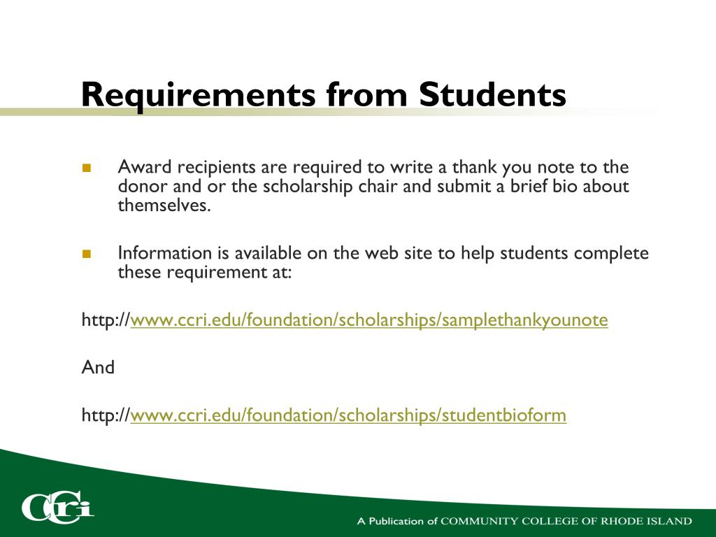 Requirements from Students