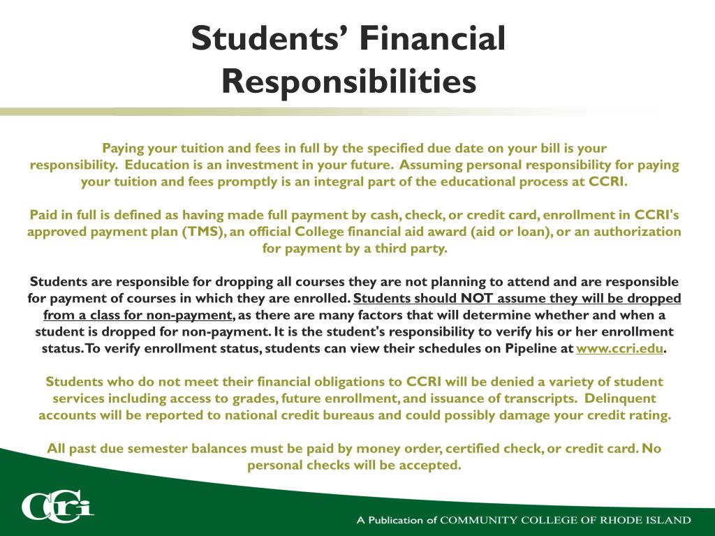 Students' Financial Responsibilities