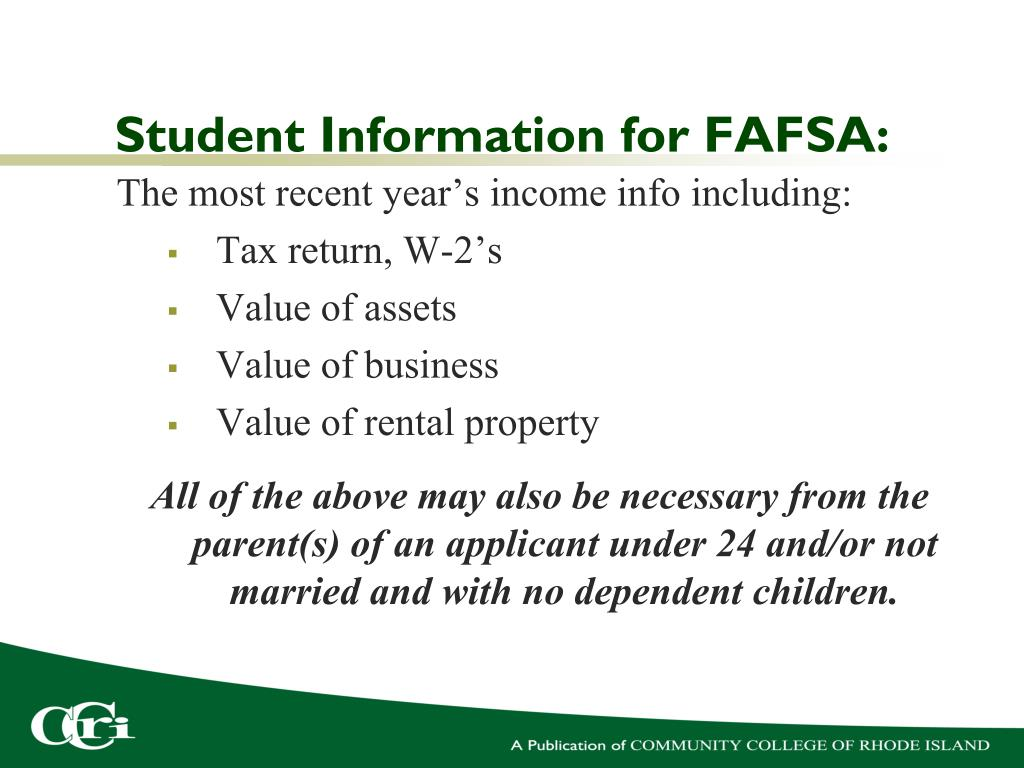 Student Information for FAFSA:
