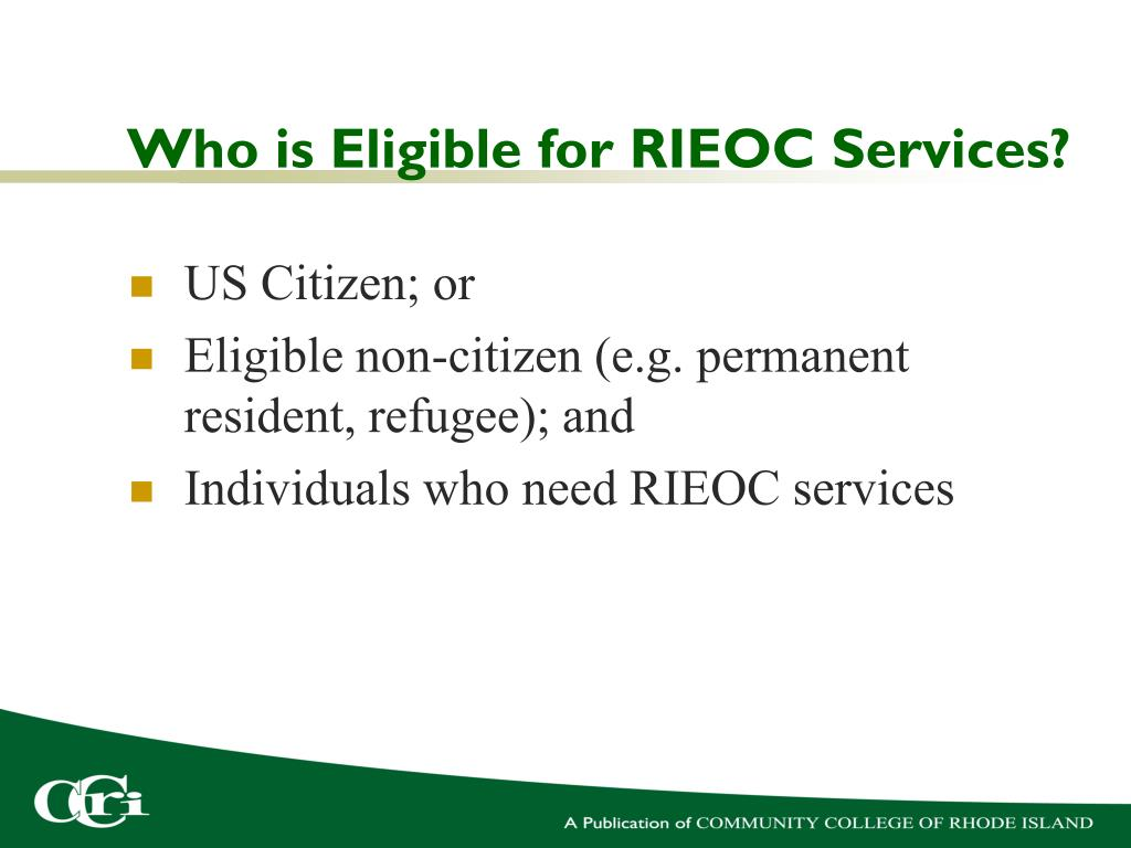 Who is Eligible for RIEOC Services?