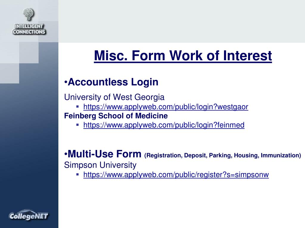 Misc. Form Work of Interest