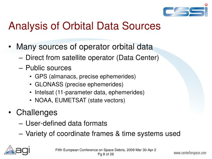 Analysis of Orbital Data Sources