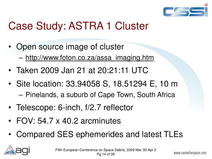 Case Study: ASTRA 1 Cluster