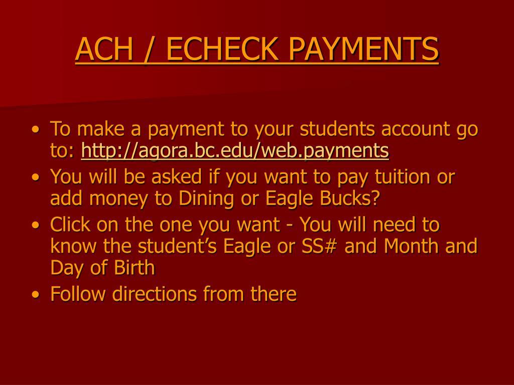ACH / ECHECK PAYMENTS