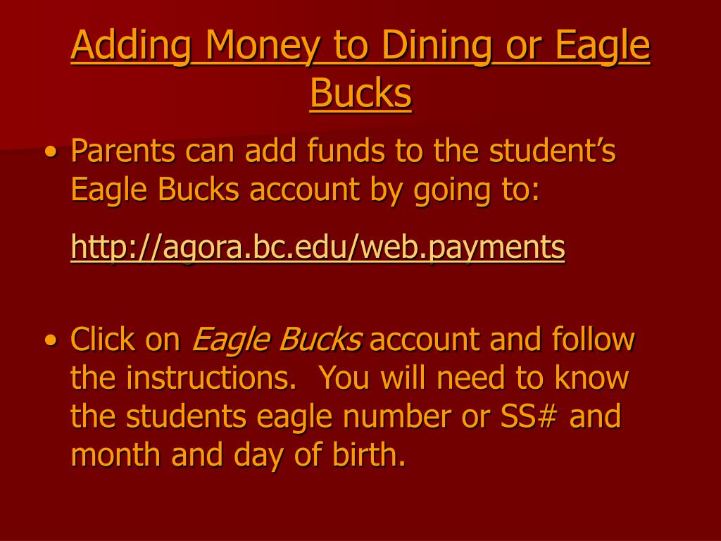 Adding Money to Dining or Eagle Bucks
