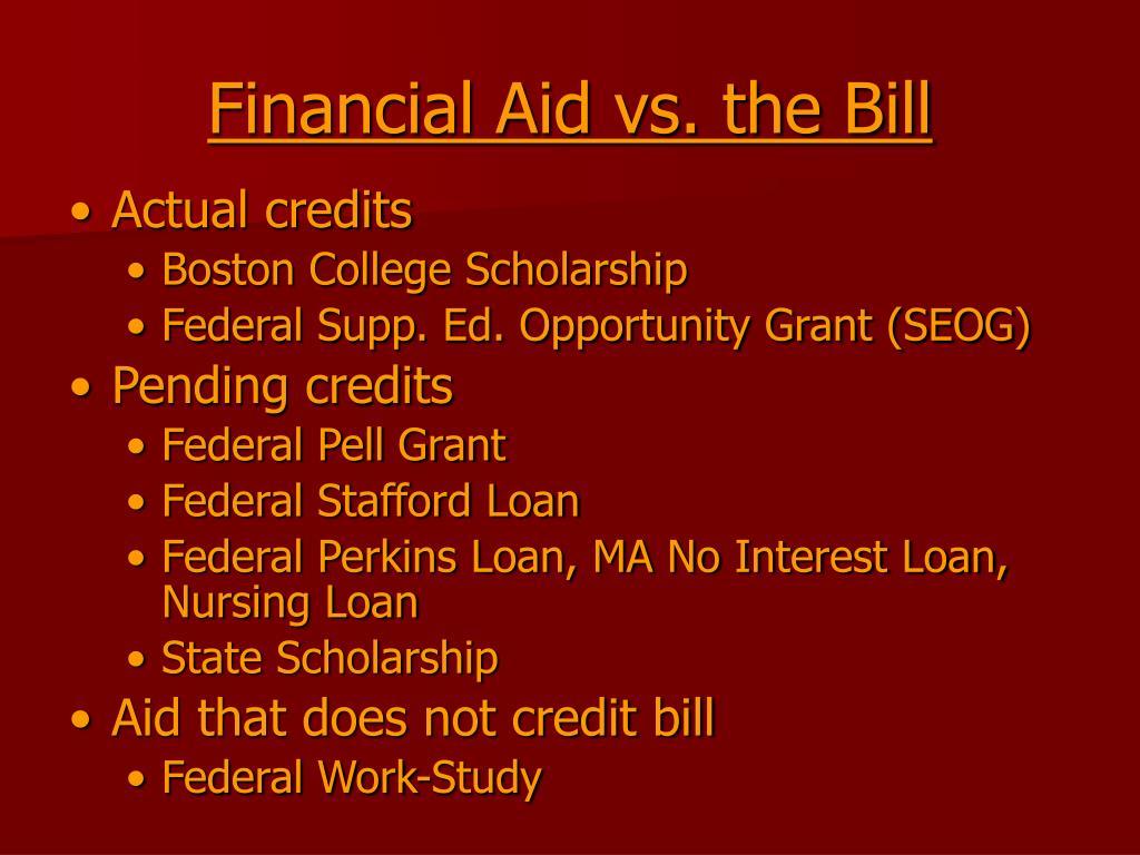Financial Aid vs. the Bill