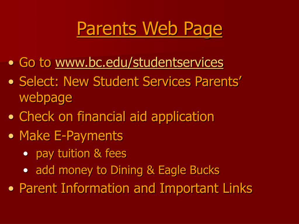 Parents Web Page