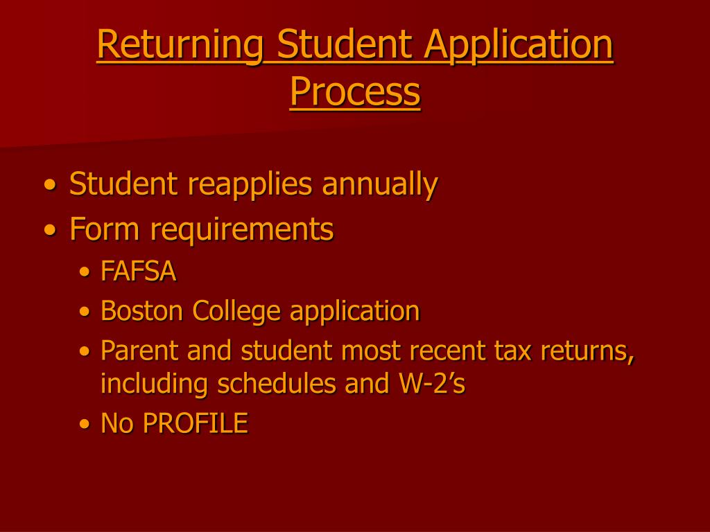 Returning Student Application Process