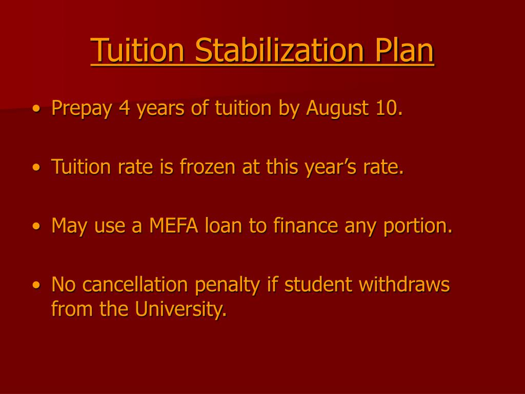 Tuition Stabilization Plan