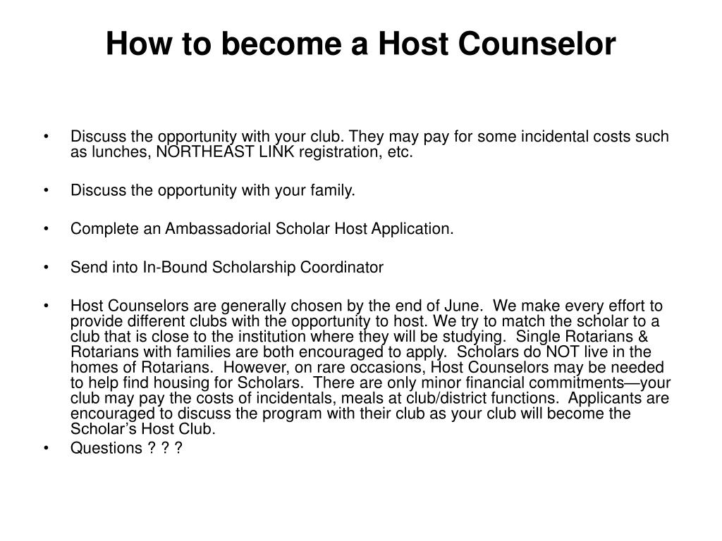How to become a Host Counselor