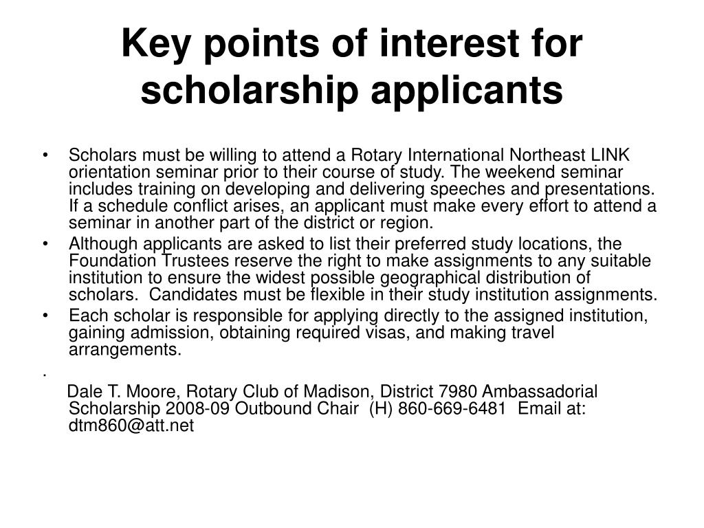 Key points of interest for scholarship applicants
