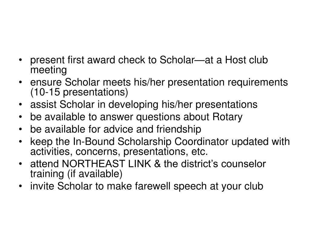 present first award check to Scholar—at a Host club meeting